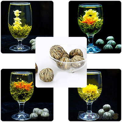 Popular Different Handmade Blooming Flower Green Tea Wedding Home Gift 4 Balls