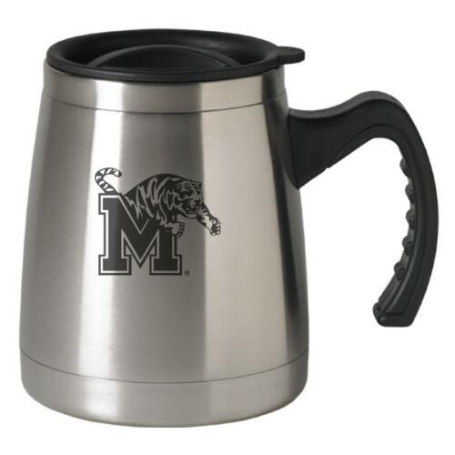 Silver 16-ounce Squat Travel Mug Tumbler University of Memphis