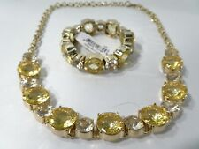 Lee Angel Neiman Marcus Yellow Gold-Plated Clear Crystal Baguette Necklace 495