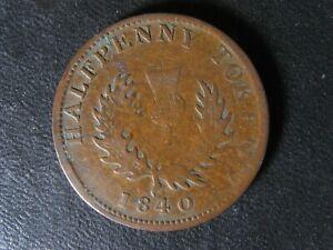 NS-1E4 Halfpenny token 1840 Small 0 Canada Nova Scotia PNS-506 Breton 874
