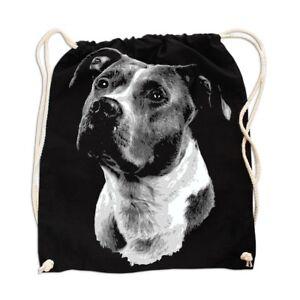 Rucksack GYM Bag Turnbeutel Leinentasche American Staffordshire Terrier Dogs Ras