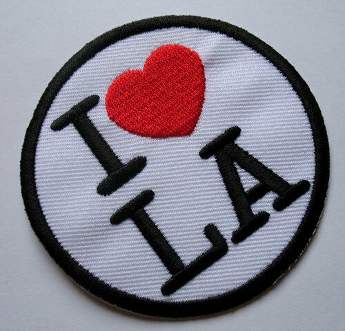 I Luv Love LA Los Angeles USA Logo Round Embroidered Iron on Patch Free Shipping