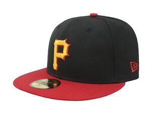6b9e7aa5558 New Era 59Fifty Hat MLB Pittsburgh Pirates Black Red Yellow Mens ...