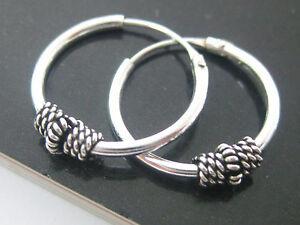 925 Sterling Silver Oxidised Bali Thai 14mm Sleepers Hoop Earrings