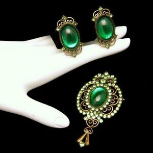 Vintage-Brooch-Pin-Earrings-Set-Pretty-Green-Foiled-Glass-Rhinestones-Gorgeous