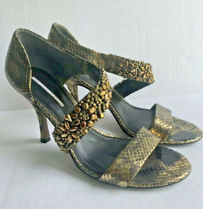 VERA WANG LAVENDER Size 8.5 Snakeskin Jewel Sandals Heels Gold Black