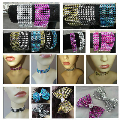 Ladies Diamante Necklace, Diamante Choker, Diamante Bracelet,Glitzy,Party Wear
