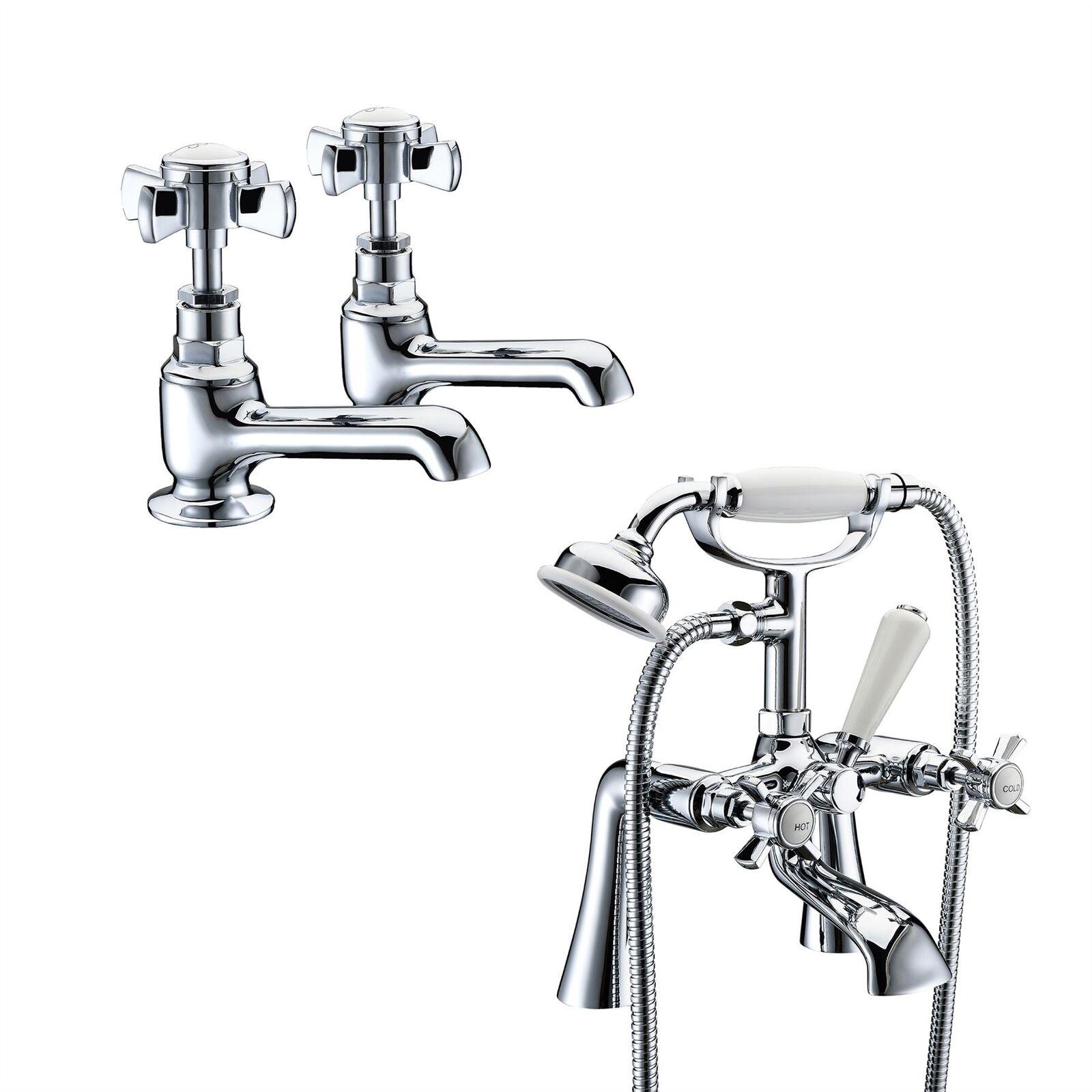 Grand Traditionnel Victorien Twin bassin robinet Paire + Bain de remplissage douche Mélangeur