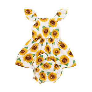 96fb99a5d Details about Baby Girls Summer Sunflower Outfits Set Dress Infant Newborn  Kids Clothes Romper