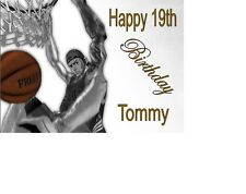 """Basketball Slam Dunk  Birthday Cake Topper 10""""x8"""" Personalised A4 Icing Sheet"""