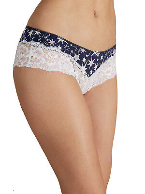 EX M/&S Blue Star Print Lace Brazilian Knickers