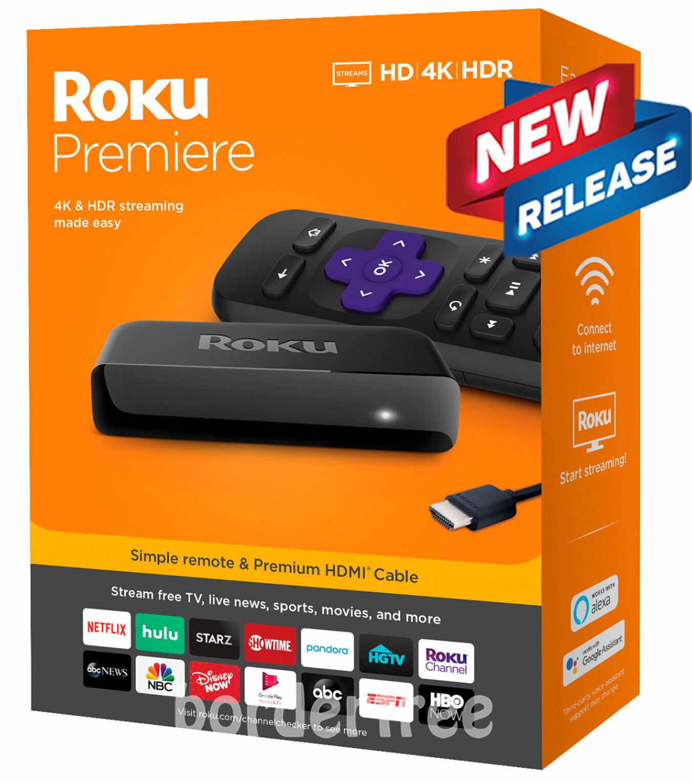 Roku - Premiere 4K Streaming Media Player - NEW RELEASE (3920R) media new player premiere release roku streaming