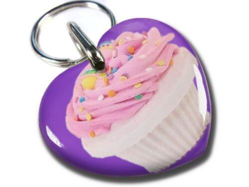 Cupcake Purple cute heart shaped dog cat charm custom pet tag Sweetheart  ID4PET