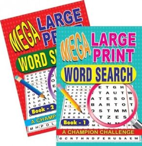 2 X A4 Mega Large Print Word Search Puzzle Book Books 258 Puzzles A4 Pages 1 & 2 5060082934223