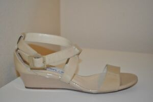 6285cc9b6808 Jimmy Choo CHIARA Strappy Nude Beige Patent Low Wedge Sandal Shoe 37 ...