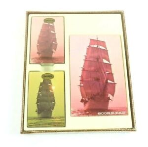 Vintage-Congress-Playing-Cards-Clipper-Ship-Two-Decks-and-Score-Pad-NIP-Sealed