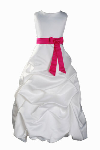 Ivory Flower Girl Dress Bridesmaid Dress 1-13 Year Sash in 10 Colour