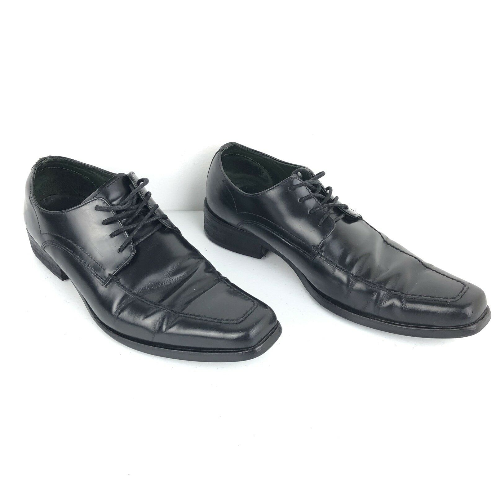 Kenneth Cole New York Mens Dress Shoes Pointed Toe Black Leather Size 9.5
