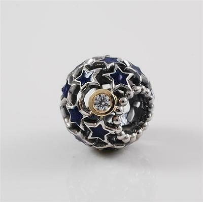Genuine Authentic Pandora Silver 14k Gold Blue Night Sky Charm Bead 79371CZ