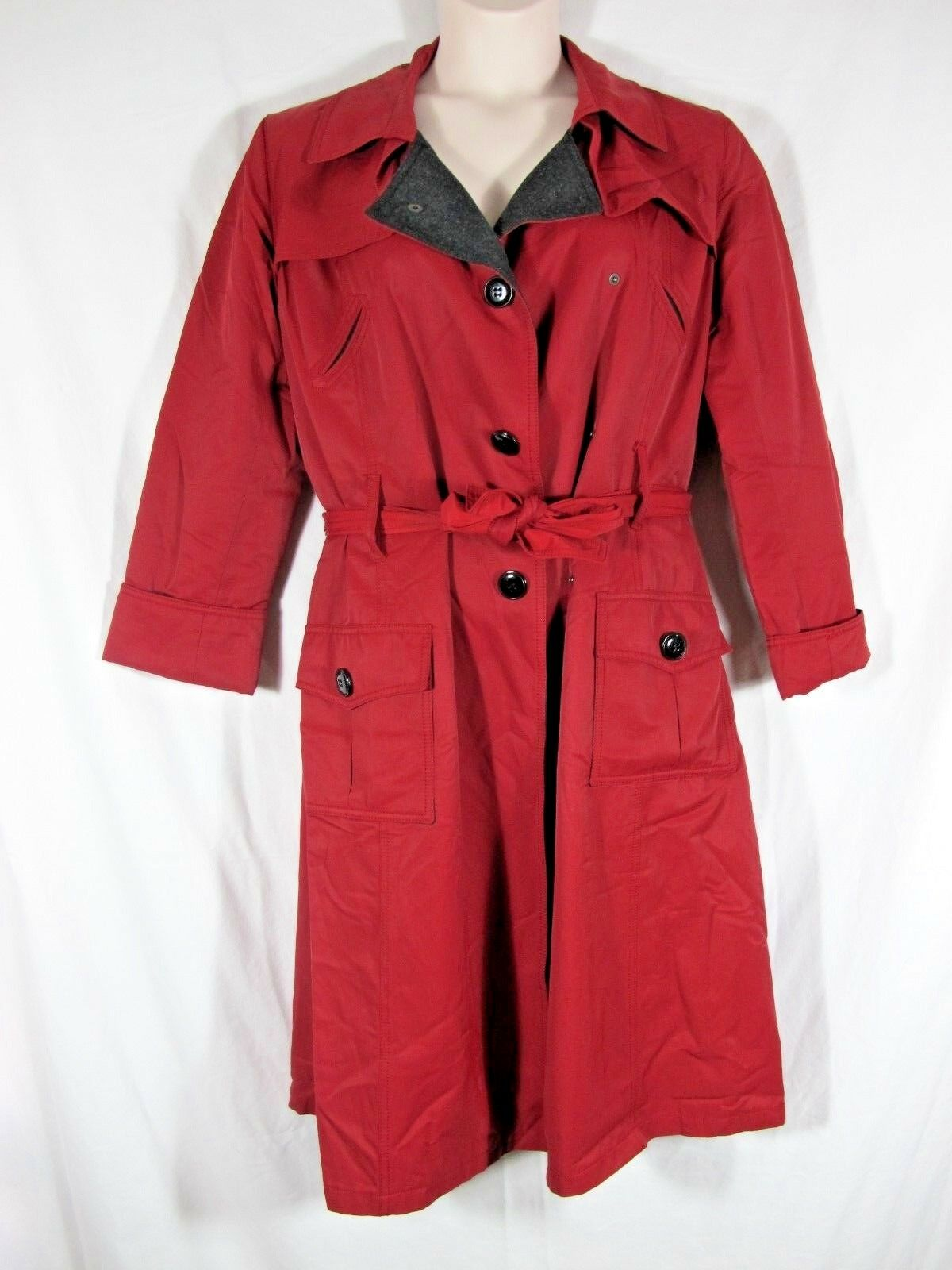 Tryst Red Burgundy Cotton Blend Belted Lined Trench Rain Coat Womens L