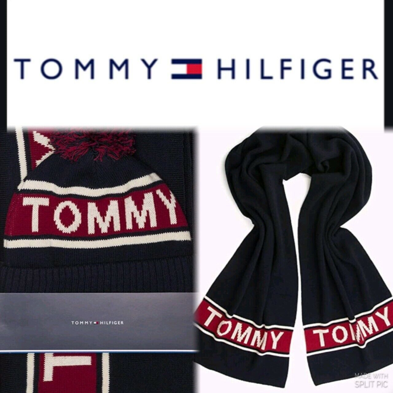 Tommy Hilfiger Scarf Hat Set Navy Red Cream Logo Scarf Bobble Beanie Gift Boxed