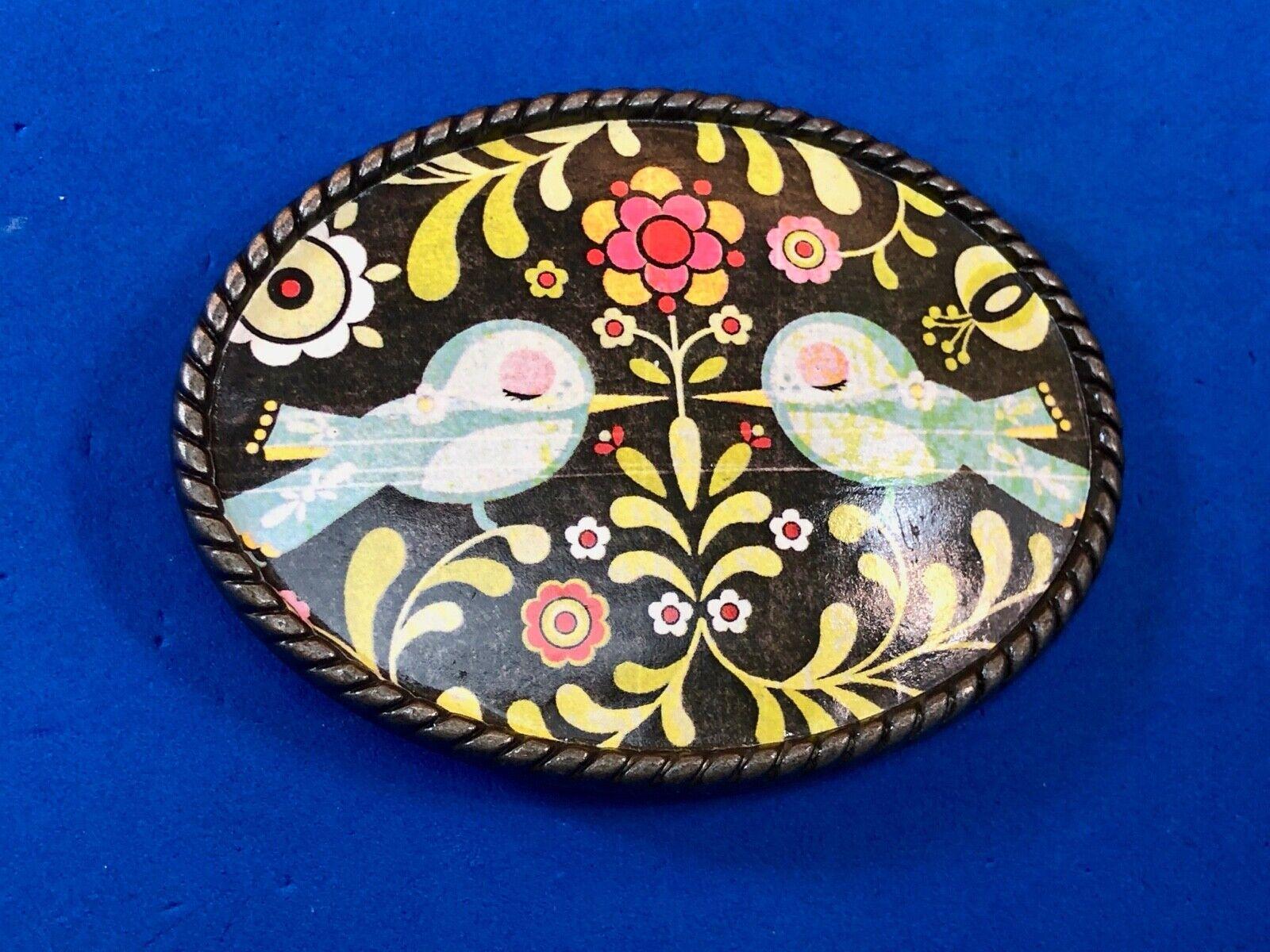 Vintage Love Birds Kaleidoscope pattern Belt Buckle by Loopty Loo 60s 70s