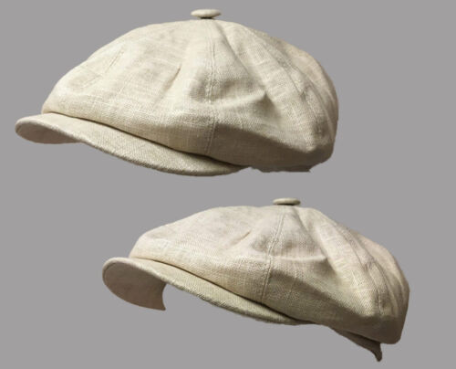 Beige 8 panel bakerboy,newsboy,peaky blinder 1920s summer flat cap 6 pence