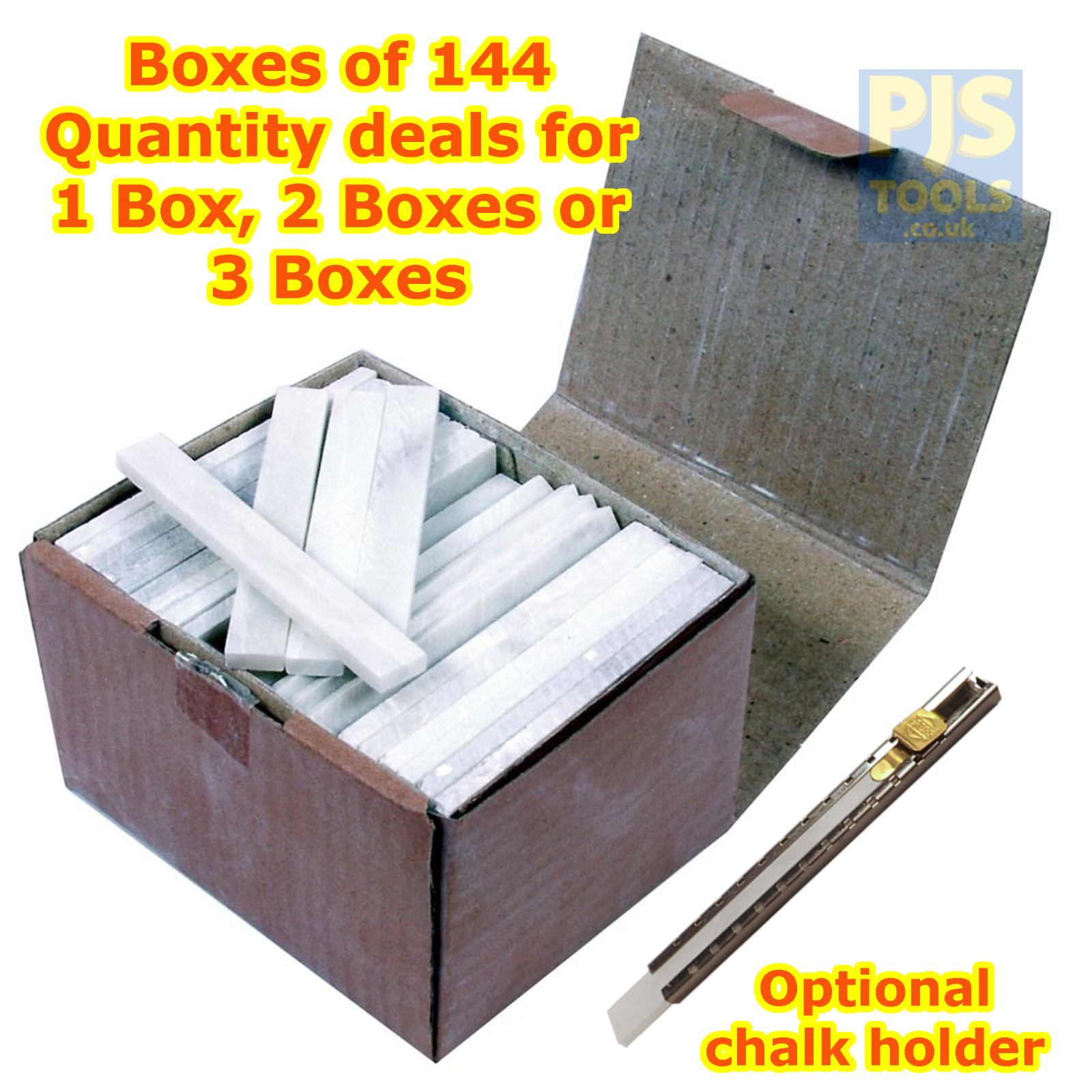 144 x Flat rectangular engineers french chalk welders sticks 1, 2 or 3 boxes