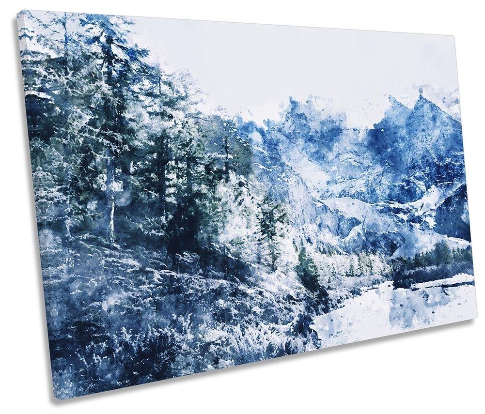 Blau Winter Forest Mountain Framed SINGLE CANVAS Drucken Wand Kunst
