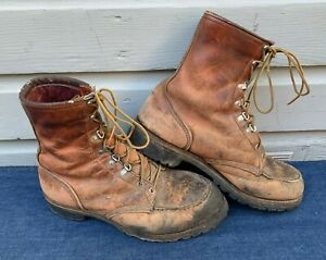VTG-1980s-Red-Wing-Irish-Setter-Sport-Work-Boots-10-5-EE-USA-Hunting-Vibram-Sole