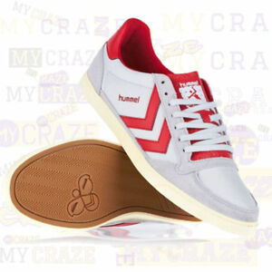 pretty nice 738fd e9438 Details about HUMMEL Mens White & Red Casual Sneakers Trainers Retro Skater  Shoes