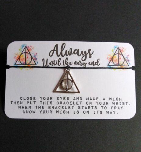 Wish bracelet Harry Potter Always deathly hallows charm fiendship valentine