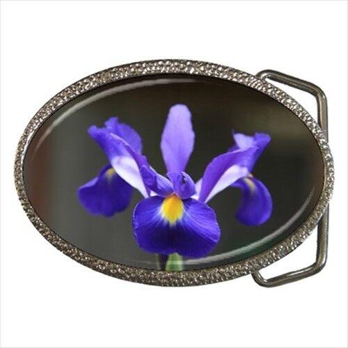 Purple Iris Flower Chrome Finished Belt Buckle