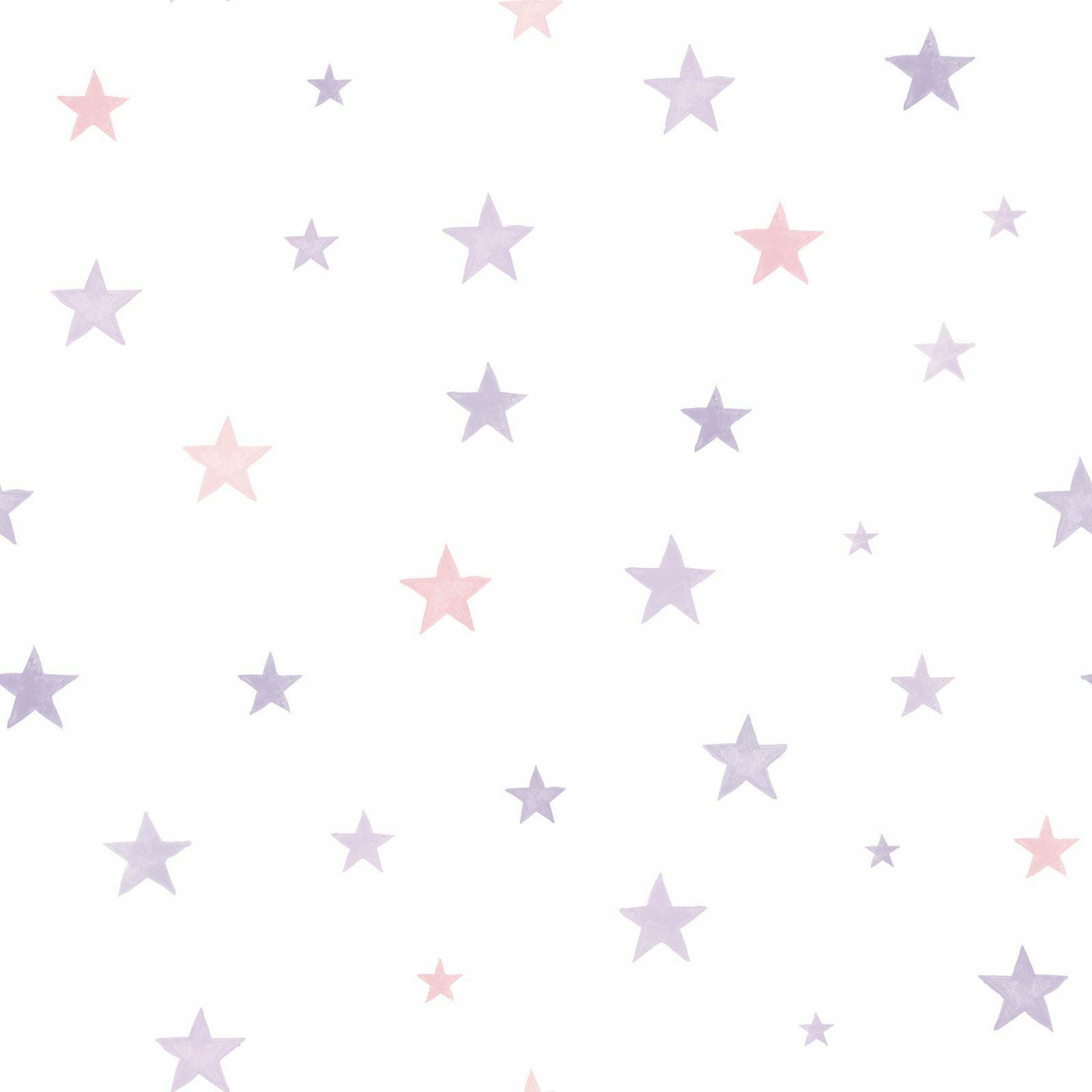 Grandeco Lo2702 Little Ones Eco Stars Wallpaper Pink Hypo