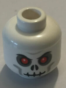 LEGO NEW SKELETON MINIFIGURE HEAD WITH RED EYES AND BOLT IN HEAD