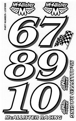 Classic StyleRacing Number Oval Stock Car RC Car Decals Late Models 1//10th