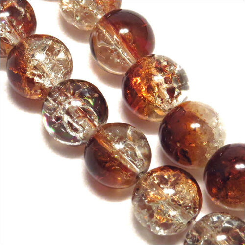 Lot of 30 Beads Cracked Glass 8mm Bicolour Brown Crystal