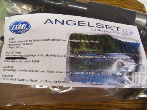 Angelset Exori fishing combo-set Angeln Angel Rute Rolle Kescher Schnur