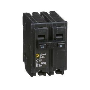 SquareD HOM260 Homeline 60A 2-Pole 120/240 VAC Standard Type Circuit Breaker 5pk