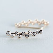 Pink Rose Gold Plated Sterling Silver Hook Ear Climber Ear Crawler CZ Earrings