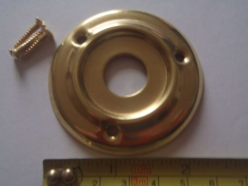 A 60 mm DIAMETER  PRESSED BRASS DOOR KNOB ROSE BACK PLATE FOR RIM LOCK FIT ETC