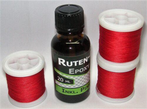und Epoxy-Rutenlack feine Stärke 3 x 100 m  Bindegarn ROT Rutenbau JB