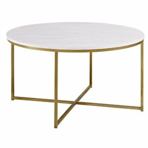 Buy Walker Edison Af36alctmgd 36 Coffee Table With X Base Marble