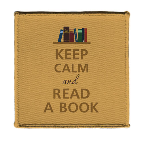"""Keep Calm AND READ A BOOK LIBRARY SHELF Iron on 4X4/"""" Embroidered Patch On Jacket"""