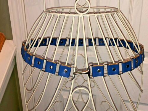 Vintage Blue Pleather Metal Link 70's Belt Hip Hug