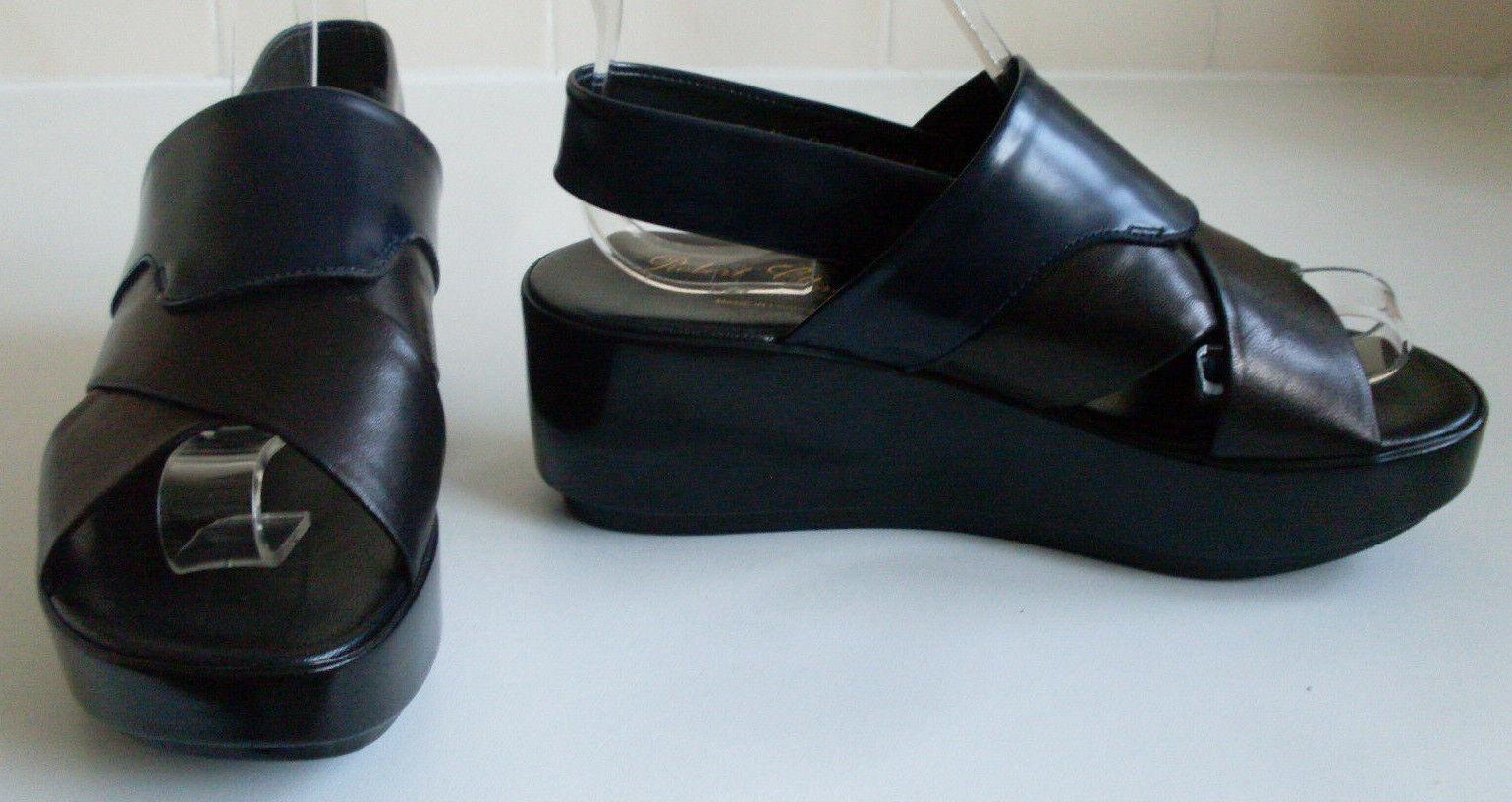 CLERGERIE Designer France Black Platform Wedge Sandals Size EU 36.5 UK 3.5 US 6