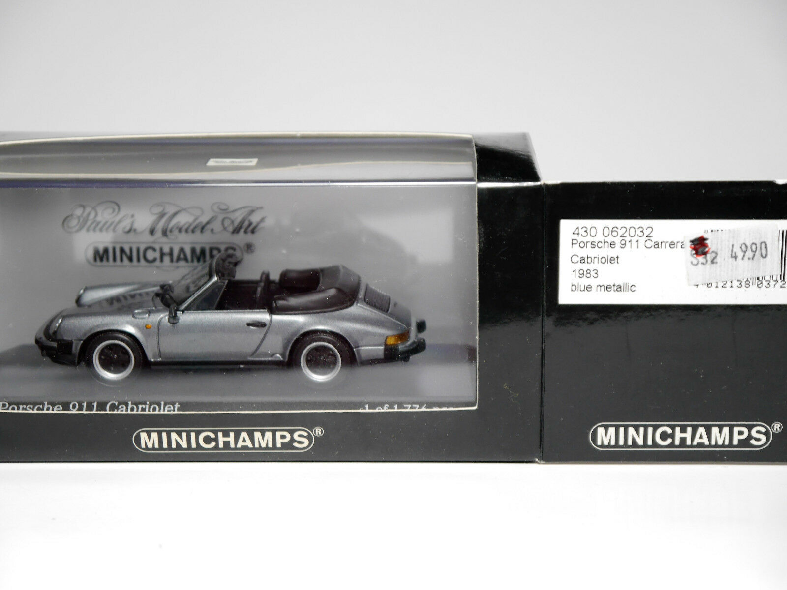 Porsche 911 cabrio 1983 g-modell blau traf., minichamps 430 062032 1 43 geboxt.
