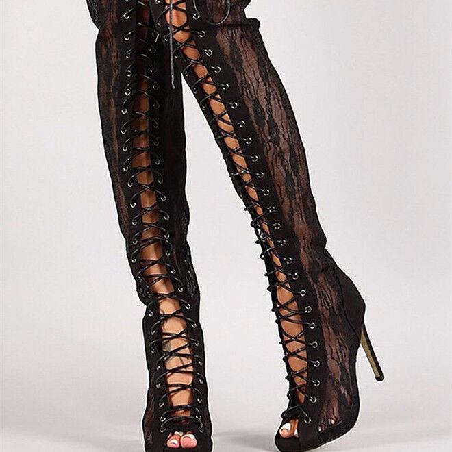 Mujeres Peep Toe Alto del muslo Sobre la Rodilla Rodilla la botas Con Cordones Zapatos clubes de Tacón Stiletto 3a63f3