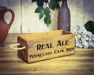Crate Small Box Real Ale To Assure Years Of Trouble-Free Service Vintage Antiqued Wooden Box Trug