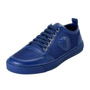 Versace Men's Blue Canvas Leather